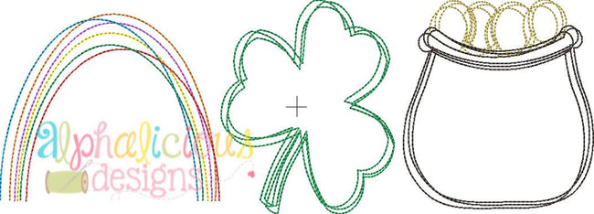Luck of the Irish Three In A Row-Vintage Scribble Embroidery - Alphalicious Designs
