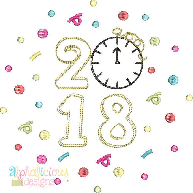 Celebrate 2018 New Years Scribble Design - Alphalicious Designs