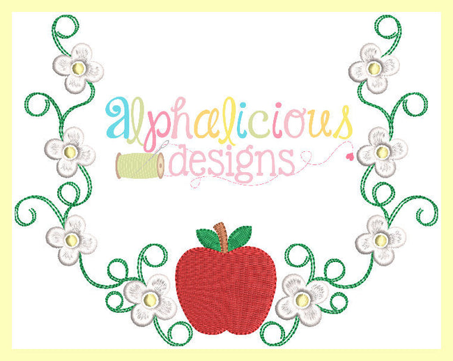 Apple Blossom Laurel Monogram Frame - Alphalicious Designs