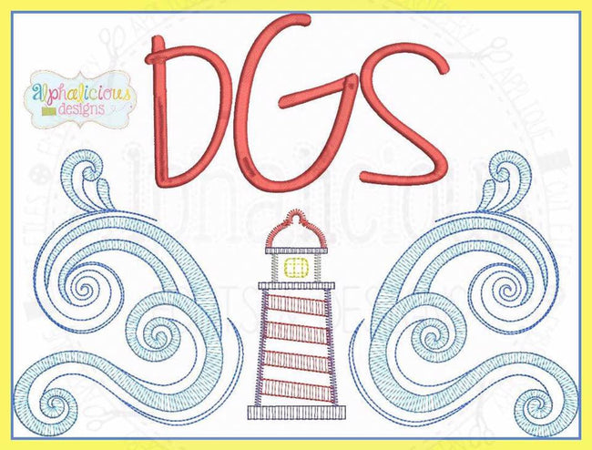 Lighthouse Monogram Frame - Alphalicious Designs