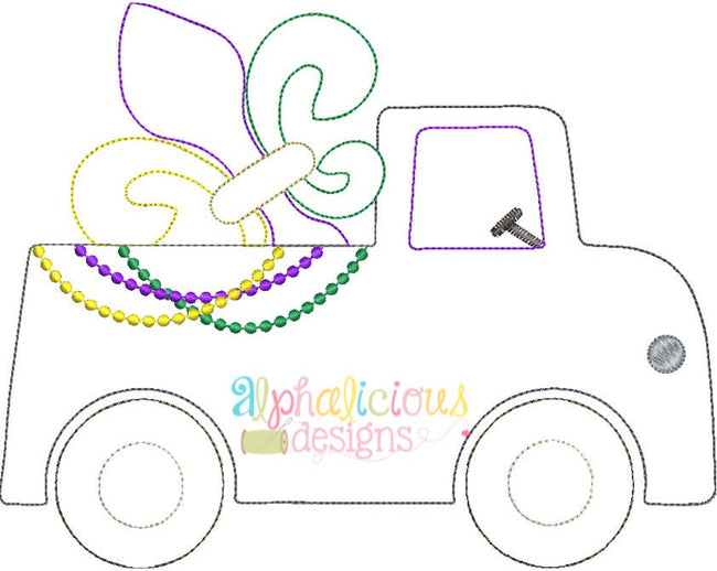 Mardi Gras Truck Applique Design- Triple Bean