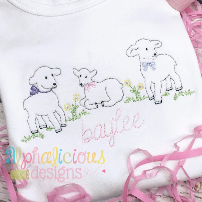 Sweet Little Lambs Vintage Embroidery - Alphalicious Designs