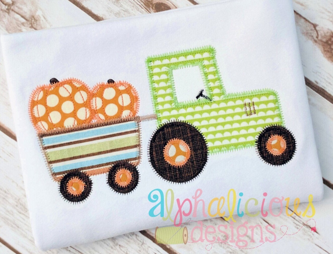 Pumpkin patch tractor zigzag applique design u alphalicious designs
