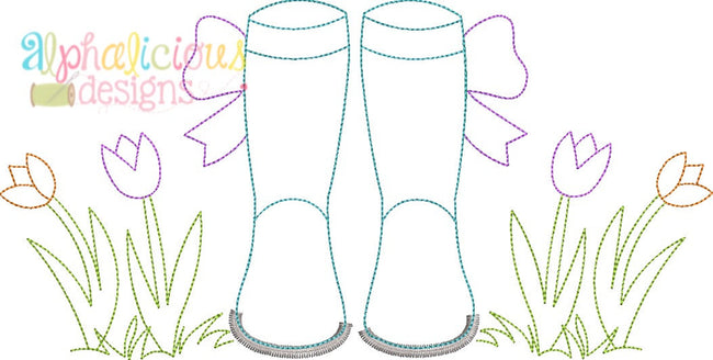Springtime Rain Boots with Bows- Triple Bean - Alphalicious Embroidery Designs