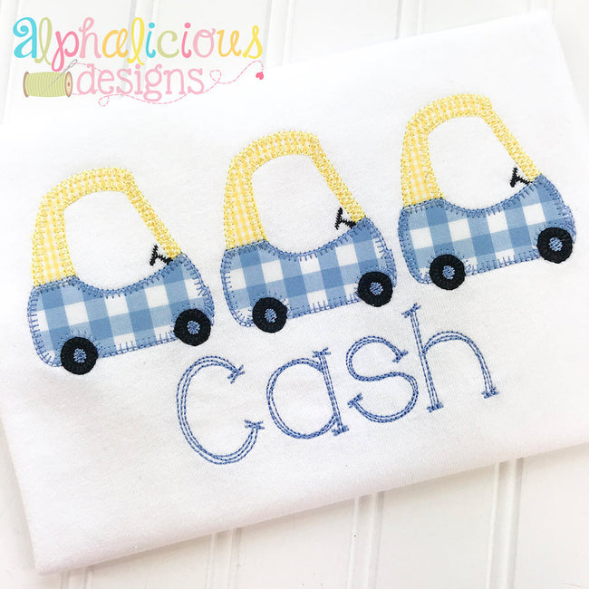 Cozy Car Applique- Three In A Row - Alphalicious Designs