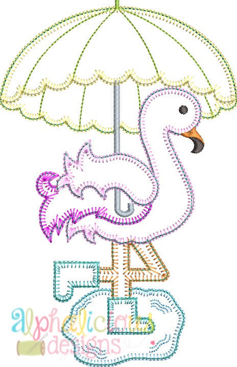 Rainy Day Flamingo Applique- Blanket - Alphalicious Designs
