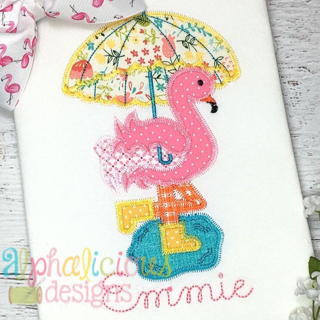 Rainy Day Flamingo Applique- ZigZag - Alphalicious Designs