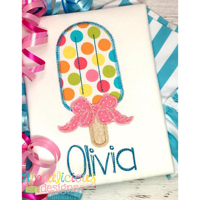 Popsicle with Bow Applique - ZigZag - Alphalicious Designs