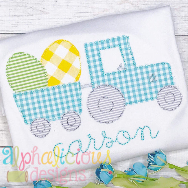 Easter Egg Tractor- Triple Bean - Alphalicious Embroidery Designs