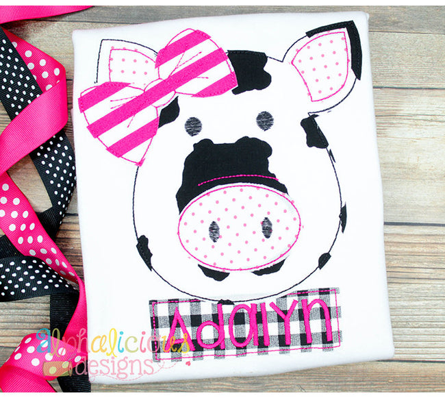 Mrs. Piggy with Bow- Triple Bean - Alphalicious Designs