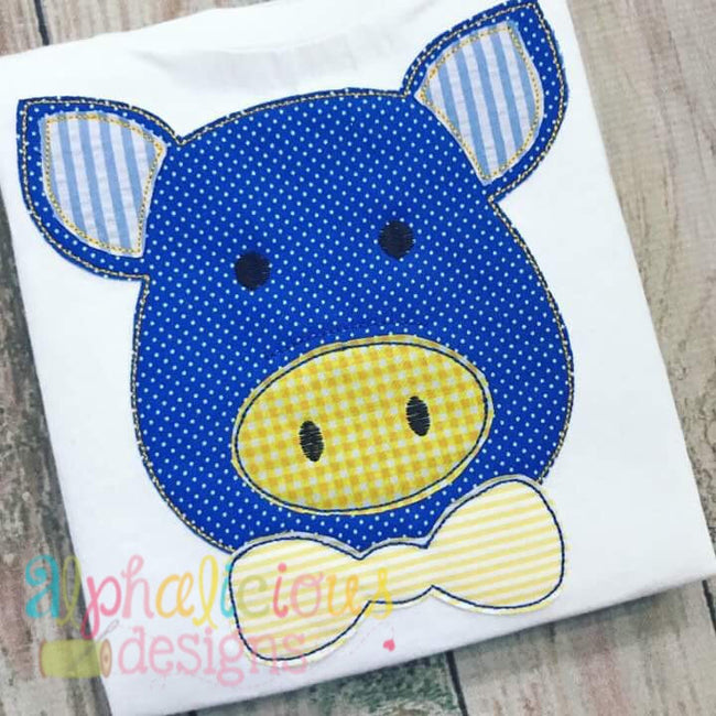 Mr. Pig With Bow Tie- Triple Bean - Alphalicious Designs