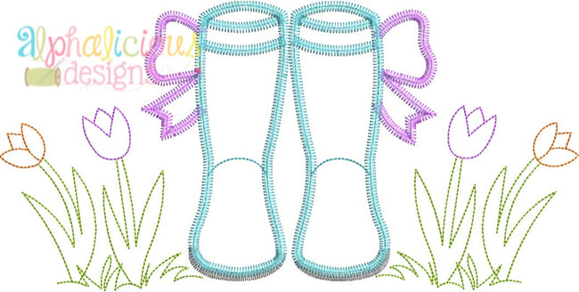 Springtime Rain Boots with Bows-ZigZag - Alphalicious Embroidery Designs