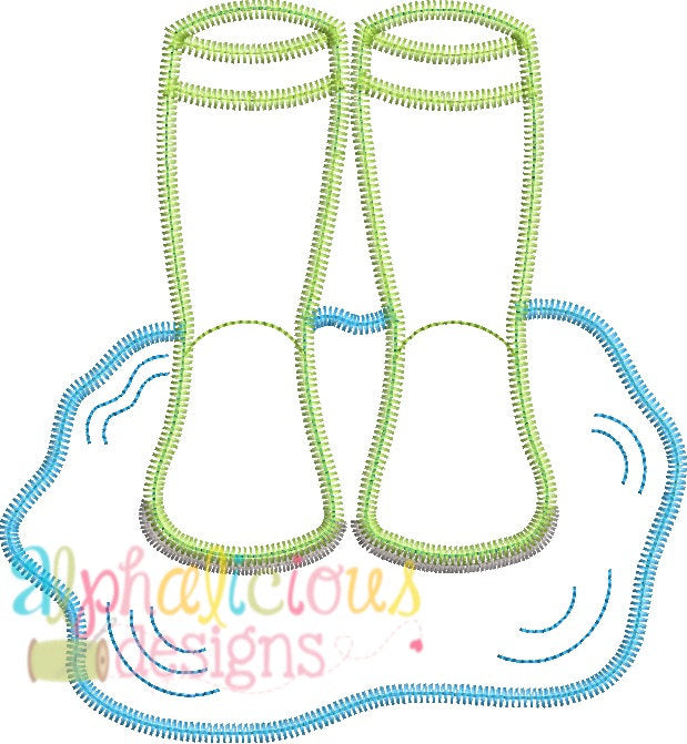 Rain Boots In Puddle- ZigZag - Alphalicious Embroidery Designs