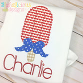 Popsicle with Bow Applique - Triple Bean