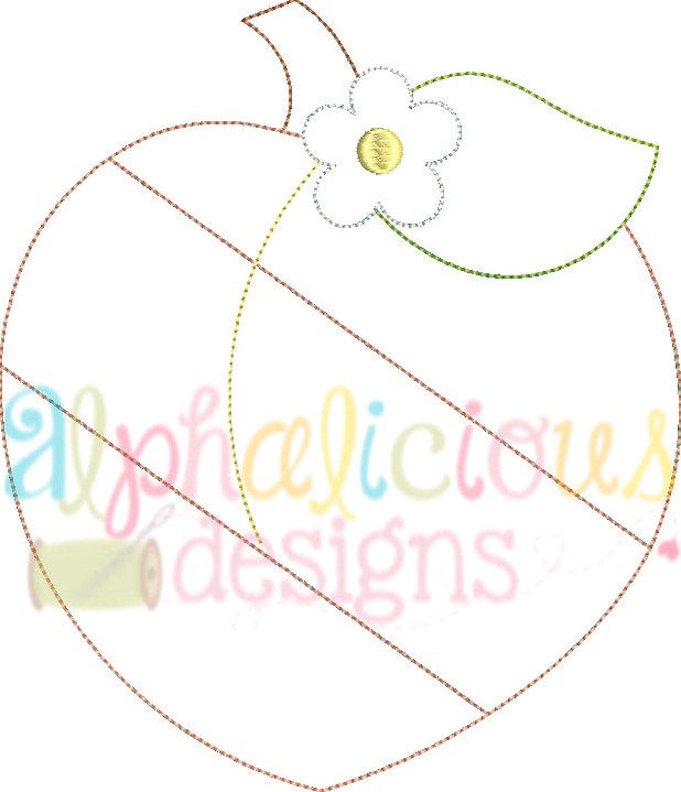 Patchwork Peach with Flower - Triple Bean