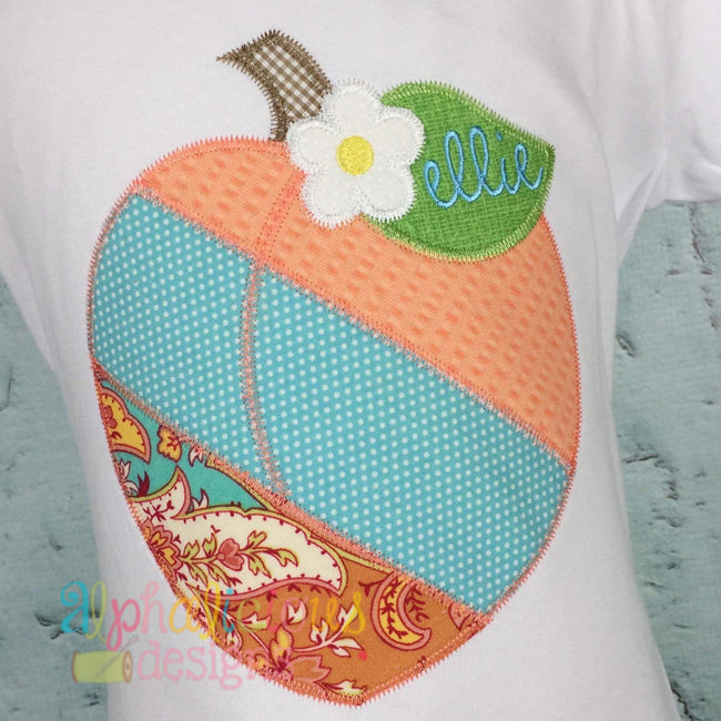 Patchwork Peach with Flower - ZigZag - Alphalicious Designs