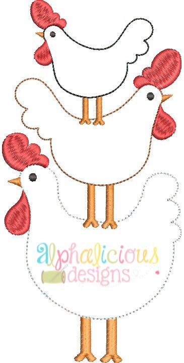Stacked Chickens- Triple Bean - Alphalicious Embroidery Designs