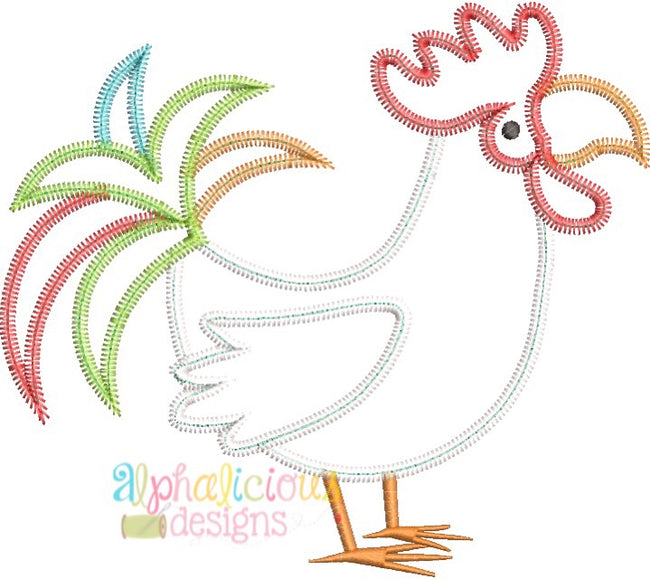 Rooster- ZigZag - Alphalicious Embroidery Designs
