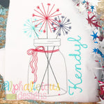 Vintage Mason Jar with Sparklers and Bow- Triple Bean - Alphalicious Designs