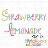 Strawberry Lemonade Sketch Embroidery Font