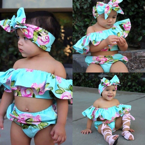 Adorable Baby Girls Off Shoulder Floral Ruffle Top + Shorts Sunsuit