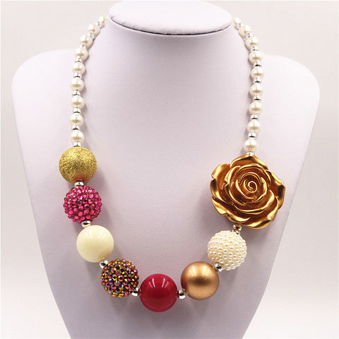Gold color flower chunky necklace