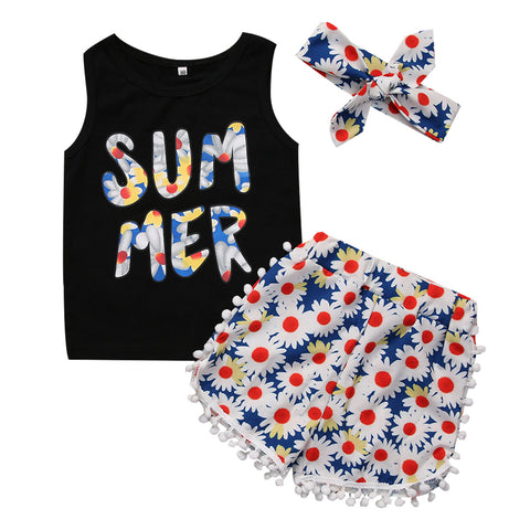 3PCS Summer Tops Floral Tassel Short and Headband Outfits