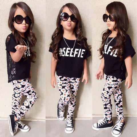 #Selfie T-shirt Tops+Floral Pants 2 Pcs Set