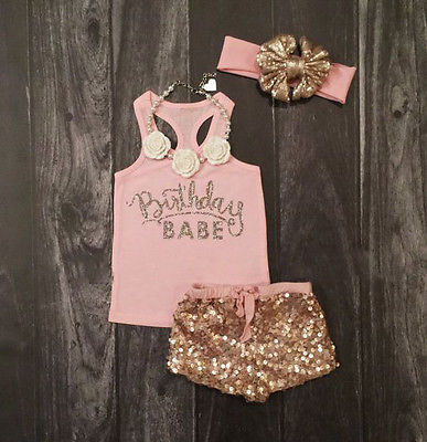Birthday Babe Top|+Sequin Pants+Headband Outfits