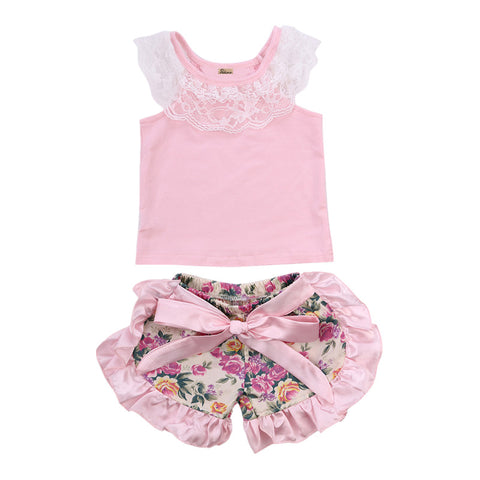 Lace Top T shirt Ruffles Floral Shorts Set