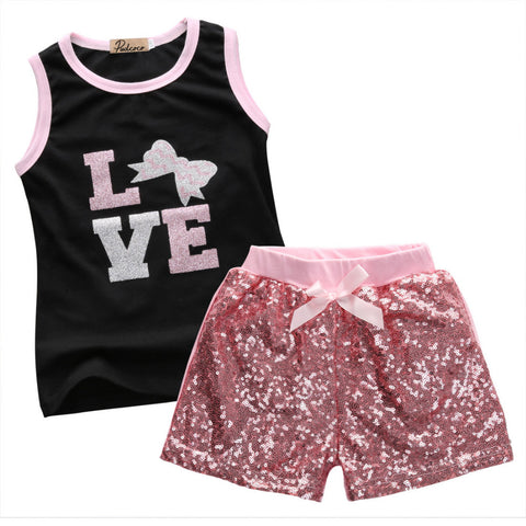 Love T shirt & Sequins Shorts