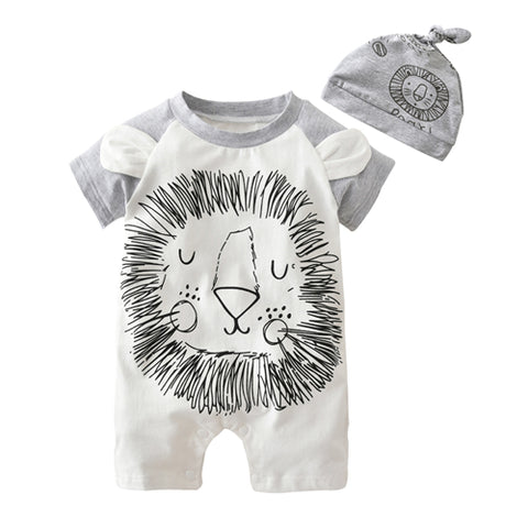 Lion Romper with Matching Hat