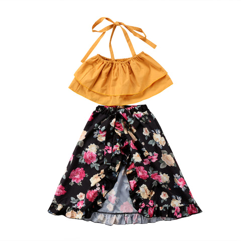 Halter top  + Floral Skirts 2pcs  Sets
