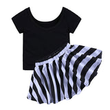T-shirt +Pleated Striped Skirt Set