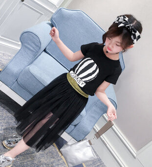 Cute T-shirt+Mesh Skirt