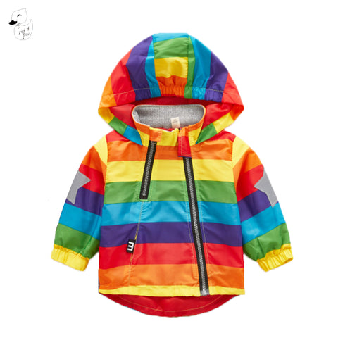 Rainbow Colored Hooded Windbreaker