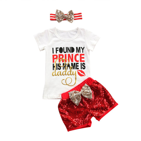 Daddy is my Prince T-shirt + Sequin Shorts Headband 3PCS Set