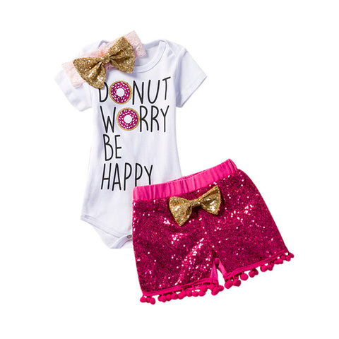 Sequins Shorts+Headband Set