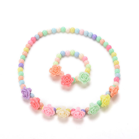 Rose Beaded Bubblegum Necklace & Bracelet
