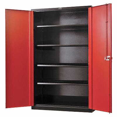 Shelving Cabinet 78 H 48 W Black/Red