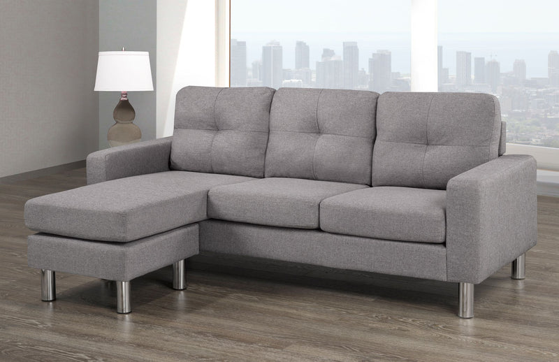 Grey Sectional with Reversible Chaise - 12029