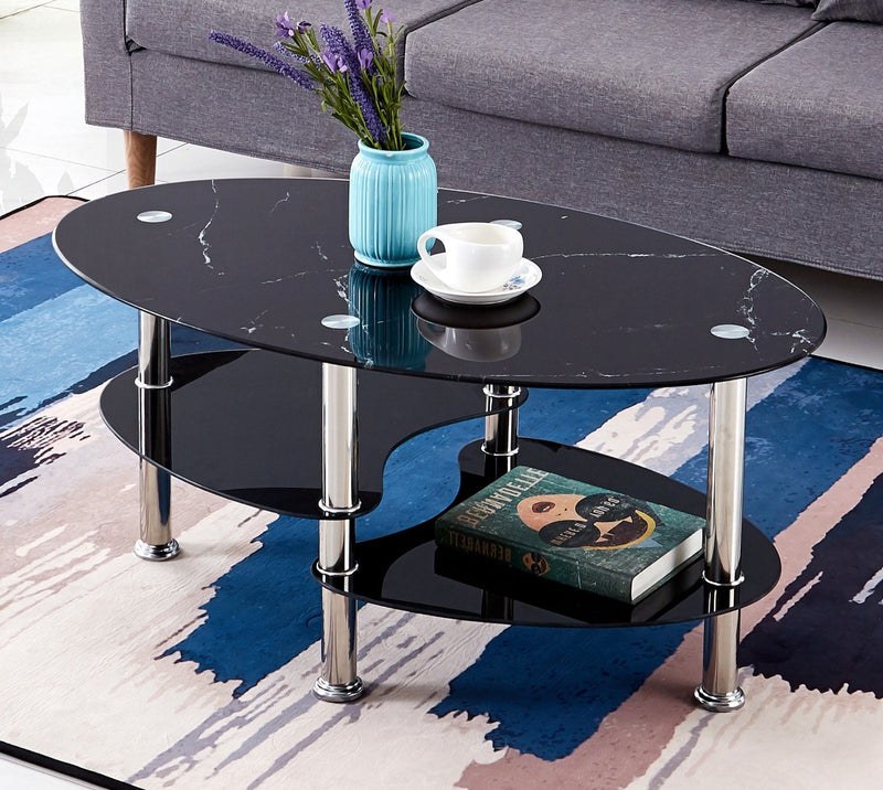Black Marble Glass Coffee Table 2028
