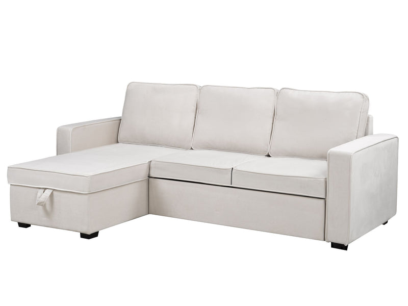 Beige Sectional with Pull-Out Bed & Storage Chaise - 2065