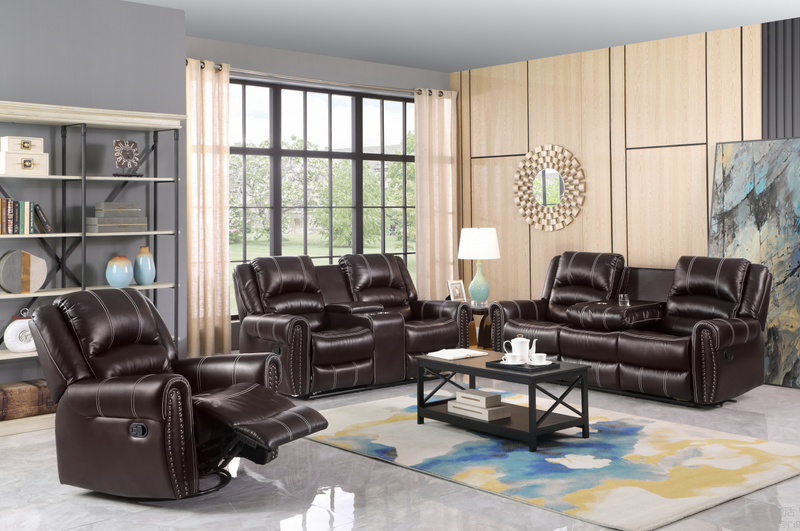 3 Piece Chocolate Cairo Recliner Set - KFOA2525