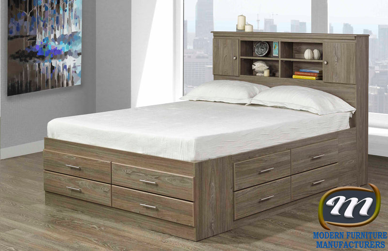 Canadian Made 12 Drawer Bed with bookcase headboard 5600