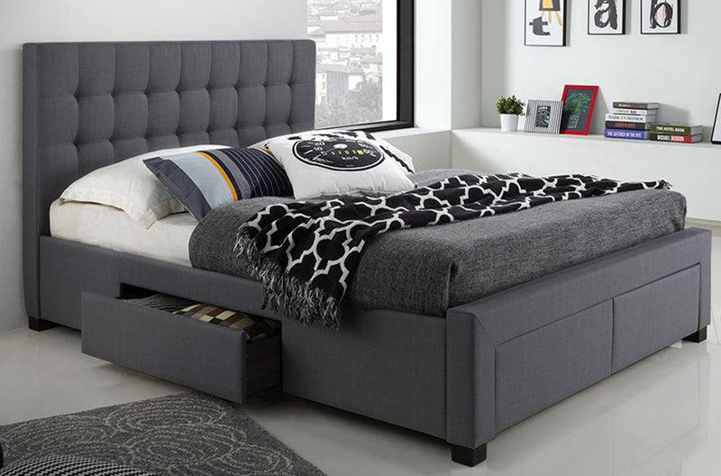 Grey Fabric Bed with Drawers