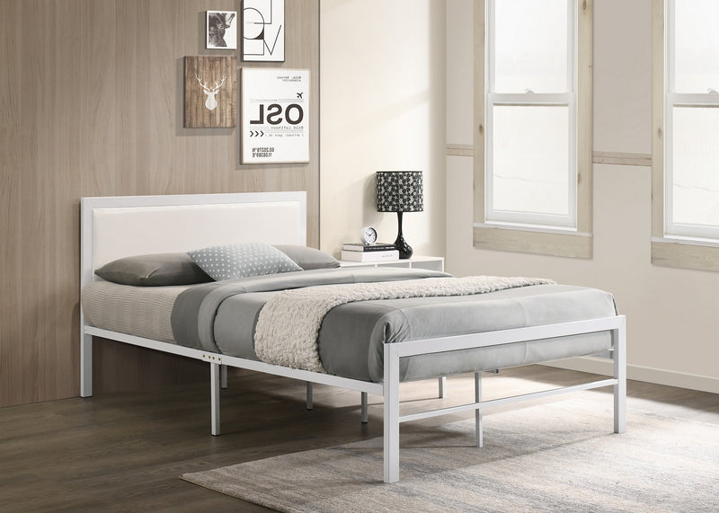 White Metal Bed With White PU Headboard 142W