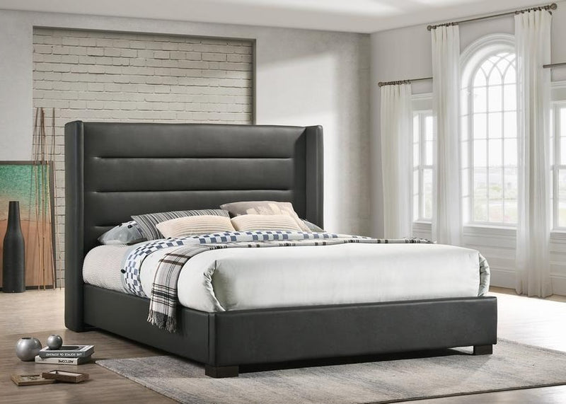 Grey PU Wing Bed with Tufted Panels 5242