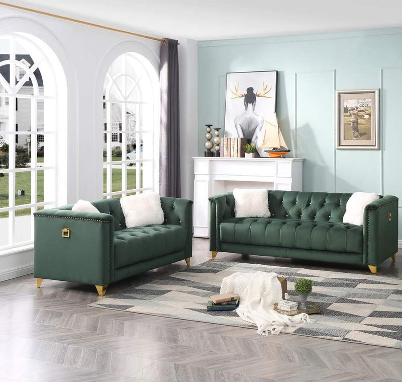 russel sofa and loveseat green