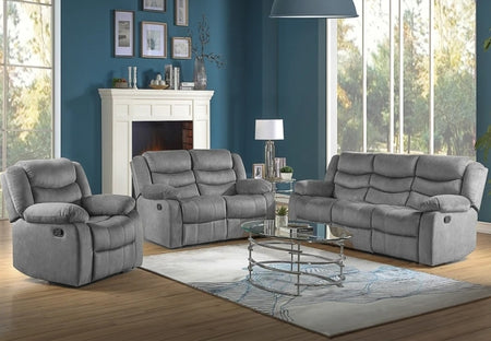 Water Proof Grey Fabric Recliner Sofa Set- 8005